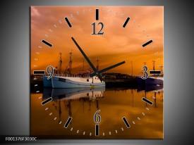 Wandklok op Canvas Boot | Kleur: Bruin, Wit | F001376C