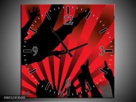 Wandklok op Canvas Muziek   Kleur: Rood, Zwart   F001523C