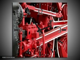 Wandklok op Canvas Trein | Kleur: Rood, Zwart, Wit | F001555C