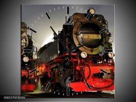 Wandklok op Canvas Trein | Kleur: Rood, Zwart, Grijs | F001575C