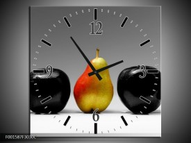 Wandklok op Canvas Fruit | Kleur: Zwart, Grijs, Rood | F001587C