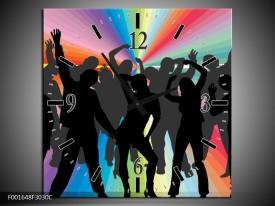 Wandklok op Canvas Dansen   Kleur: Zwart, Rood, Groen   F001648C