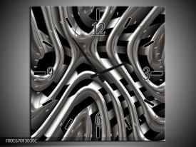 Wandklok op Canvas Abstract | Kleur: Grijs, Zilver, Zwart | F001670C