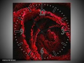 Wandklok op Canvas Roos | Kleur: Rood, Zwart | F001674C