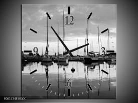 Wandklok op Canvas Boot | Kleur: Grijs, Zwart, Wit | F001734C