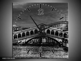 Wandklok op Canvas Venetie | Kleur: Grijs, Zwart, Wit | F001735C