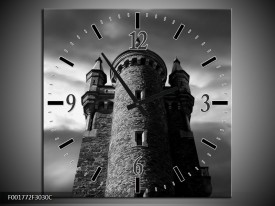 Wandklok op Canvas Toren | Kleur: Grijs, Zwart, Wit | F001772C