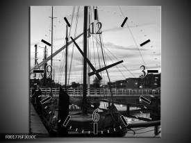 Wandklok op Canvas Boot | Kleur: Grijs, Zwart, Wit | F001776C