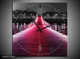 Wandklok op Canvas Brug   Kleur: Roze, Zwart   F001847C