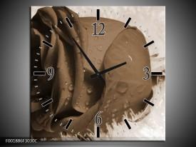 Wandklok op Canvas Roos   Kleur: Sepia, Bruin   F001886C