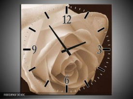 Wandklok op Canvas Roos | Kleur: Sepia, Bruin | F001896C