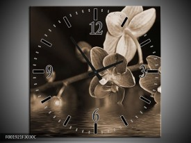 Wandklok op Canvas Orchidee | Kleur: Sepia, Bruin | F001921C