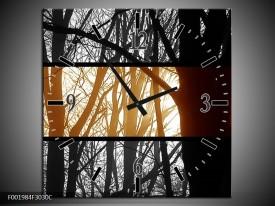 Wandklok op Canvas Natuur   Kleur: Sepia, Bruin   F001984C