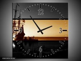 Wandklok op Canvas Boot | Kleur: Sepia, Bruin | F001995C