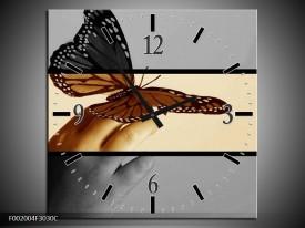 Wandklok op Canvas Vlinder | Kleur: Sepia, Bruin | F002004C