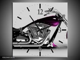 Wandklok op Canvas Motor | Kleur: Grijs, Zwart, Paars | F002044C