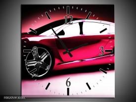Wandklok op Canvas Auto | Kleur: Roze, Zwart, Wit | F002059C