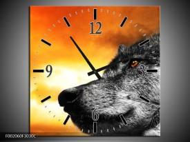 Wandklok op Canvas Wolf   Kleur: Geel, Grijs, Wit   F002060C