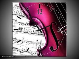 Wandklok op Canvas Instrument | Kleur: Zwart, Wit, Roze | F002077C