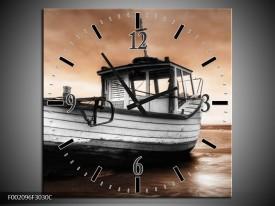 Wandklok op Canvas Boot | Kleur: Zwart, Wit, Bruin | F002096C