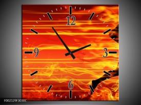 Wandklok op Canvas Vuur   Kleur: Zwart, Oranje, Geel   F002129C