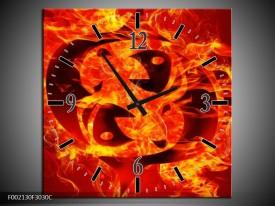 Wandklok op Canvas Vuur   Kleur: Zwart, Oranje, Geel   F002130C