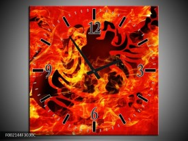 Wandklok op Canvas Vuur   Kleur: Zwart, Oranje, Geel   F002144C