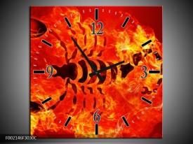 Wandklok op Canvas Vuur | Kleur: Zwart, Oranje, Geel | F002146C