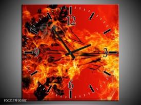 Wandklok op Canvas Vuur | Kleur: Zwart, Oranje, Geel | F002147C