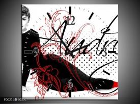 Wandklok op Canvas Audrey | Kleur: Zwart, Wit, Rood | F002154C