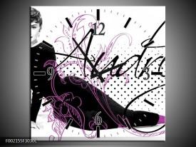 Wandklok op Canvas Audrey | Kleur: Zwart, Wit, Paars | F002155C
