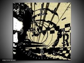 Wandklok op Canvas Popart | Kleur: Zwart, Wit, Bruin | F002191C