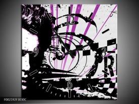 Wandklok op Canvas Popart | Kleur: Zwart, Wit, Paars | F002192C