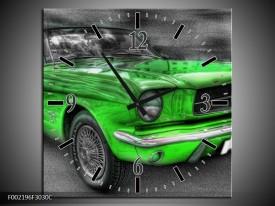 Wandklok op Canvas Ford | Kleur: Grijs, Groen | F002196C