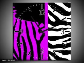 Wandklok op Canvas Zebra | Kleur: Paars, Zwart, Wit | F002209C