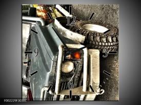 Wandklok op Canvas Auto | Kleur: Grijs, Groen | F002229C