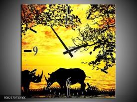 Wandklok op Canvas Natuur | Kleur: Oranje, Zwart, Bruin | F002270C