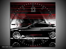 Wandklok op Canvas Auto | Kleur: Zwart, Rood, Grijs | F002348C
