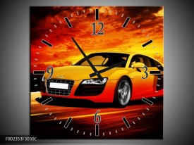 Wandklok op Canvas Audi | Kleur: Geel, Oranje, Zwart | F002353C