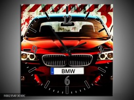 Wandklok op Canvas BMW | Kleur: Zwart, Rood, Wit | F002354C