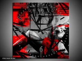 Wandklok op Canvas Lichaam   Kleur: Rood, Grijs, Zwart   F002366C