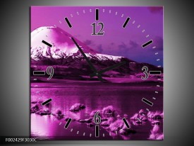 Wandklok op Canvas Bergen | Kleur: Paars, Wit, Zwart | F002429C
