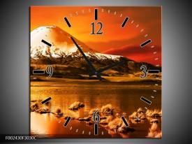 Wandklok op Canvas Bergen | Kleur: Oranje, Wit, Zwart | F002430C