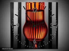 Wandklok op Canvas Glas | Kleur: Oranje, Zwart, Grijs | F002433C