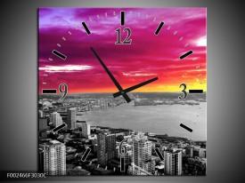 Wandklok op Canvas Uitzicht | Kleur: Grijs, Paars, Roze | F002466C
