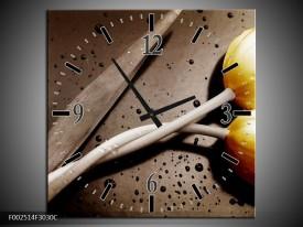 Wandklok op Canvas Tulp | Kleur: Geel, Grijs, Wit | F002514C