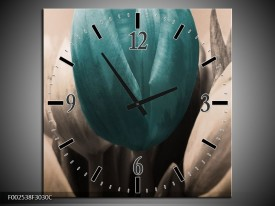 Wandklok op Canvas Tulp | Kleur: Blauw, Grijs, Zwart | F002538C