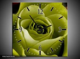 Wandklok op Canvas Roos   Kleur: Groen, Wit, Zwart   F002560C