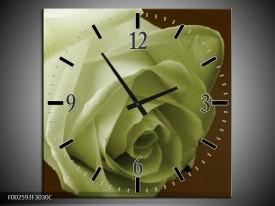 Wandklok op Canvas Roos | Kleur: Groen, Wit, Bruin | F002593C