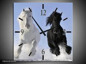 Wandklok op Canvas Paarden | Kleur: Wit, Zwart, Blauw | F002614C